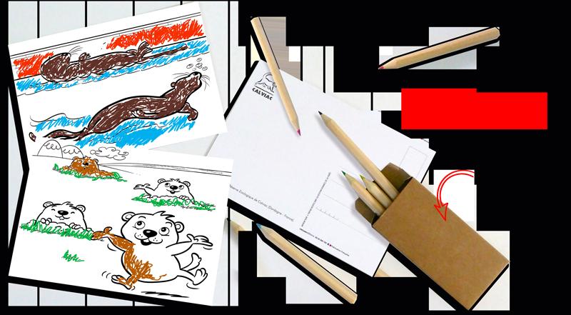 carte postale souvenir à colorier