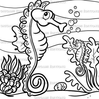 Dessin aquarium hippocampe