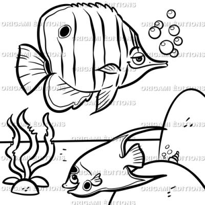 Dessin aquarium poissons