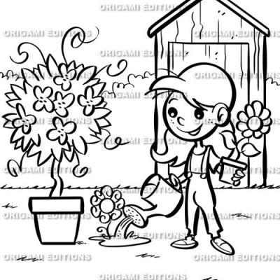 Dessin jardin fleurs