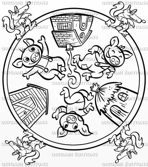 Cahier de coloriage mandala personnalis boutique souvenir - Dessin anime les 3 petit cochons ...