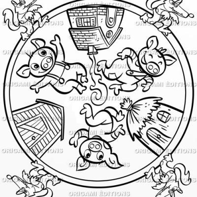 Dessin mandala le trois petits cochons