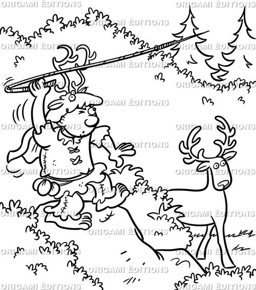 Dessin préhistoire chasseur