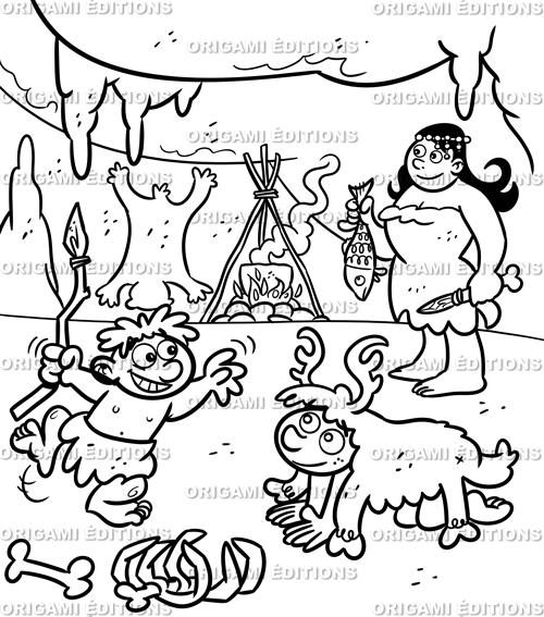 Dessin préhistoire famille préhistorique