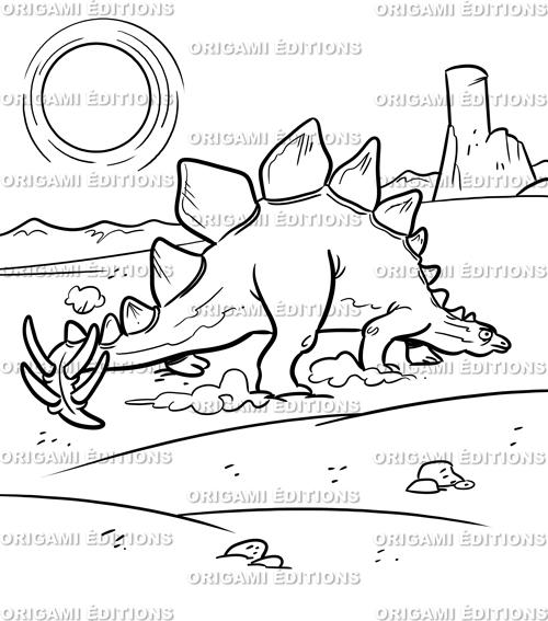Dessin préhistoire dinosaure stégosaure