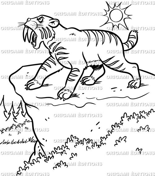 Dessin préhistoire tigre à dent de sabre