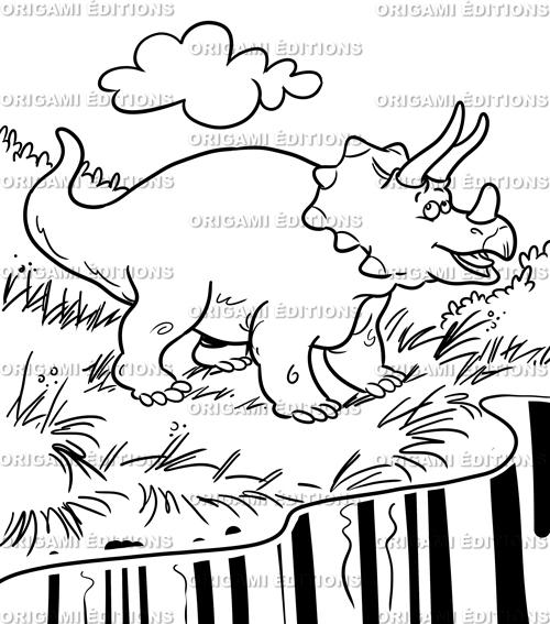 Dessin préhistoire tricératops