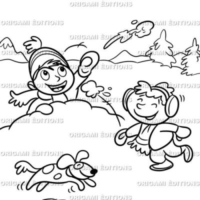 Dessin vacance bataille de boule de neige