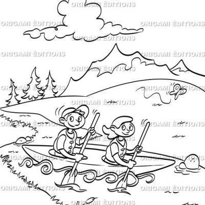 Dessin vacance canoe