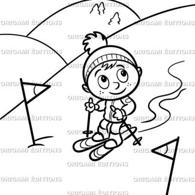 Dessin vacance enfant ski