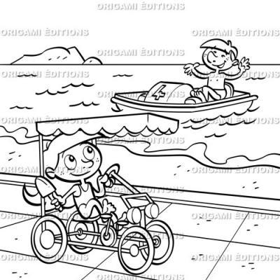 Dessin vacance mer bateau