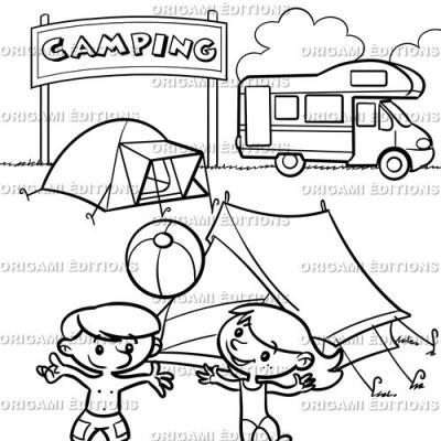 Dessin vacance mer camping