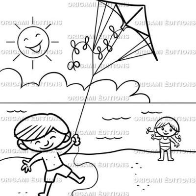 Dessin vacance mer cerf volant