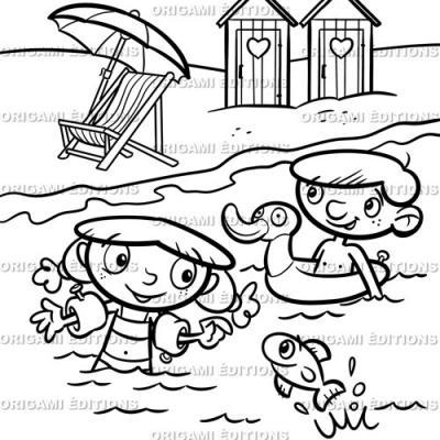 Dessin vacance mer plage
