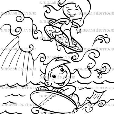 Dessin vacance mer surf